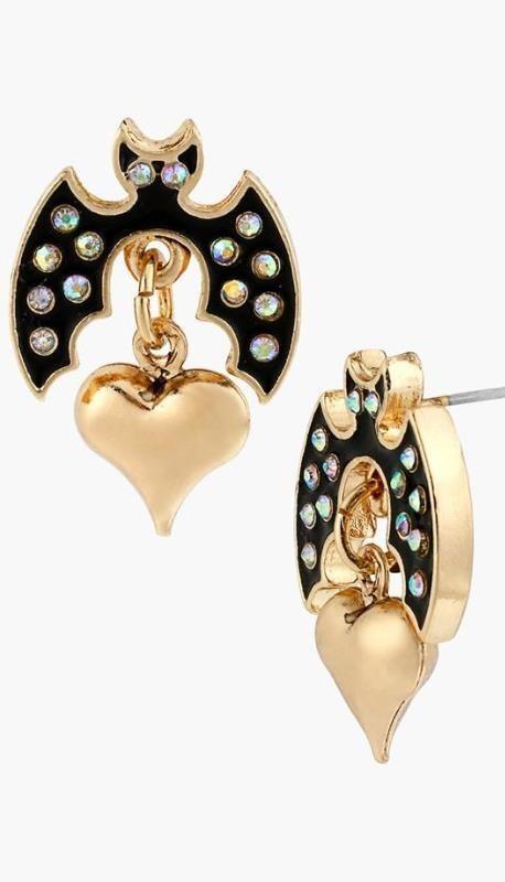 Bedazzled bat earrings for Halloween