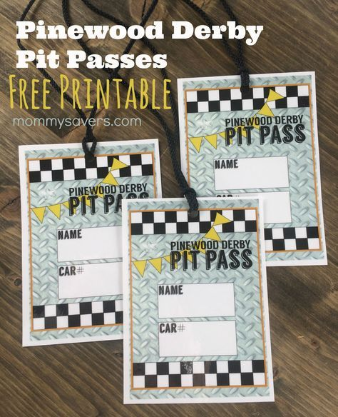Pinewood Derby Pit Passes + FREE Printable