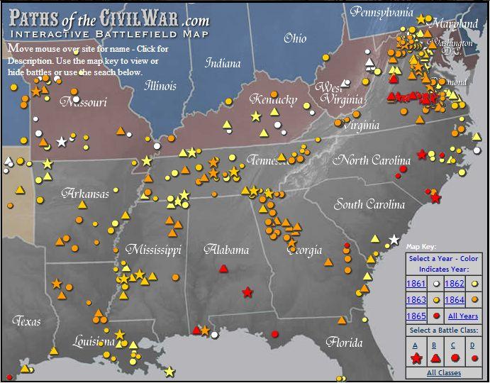 map of american civil war battles