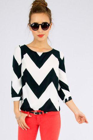 Black and White Chevron blouse