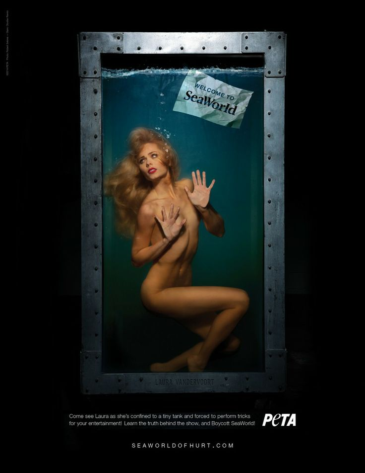 Laura Vandervoort Of 'Bitten' Poses Nude For PETA's Anti-SeaWorld Ad // this is so stupid, humans don't have gills, of course they don' belong in a tank full of water!!
