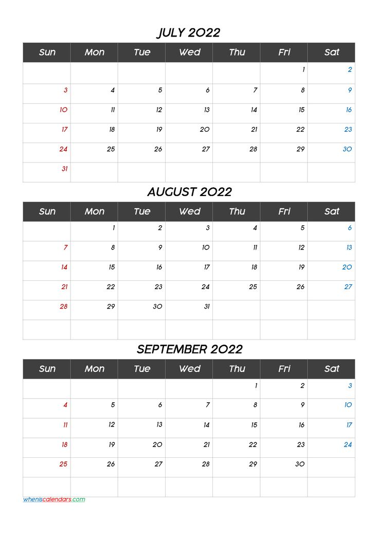 Calendar July August September 2022 Q1 Q2 Q3 Q4 Calendar Printables Printable Calendar July Calendar