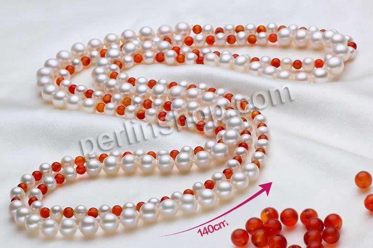 Natürliche kultivierte Süßwasserperlen Pullover Halskette, mit Roter Achat, rund, zweifarbig, 6-7mm,8-9mm, verkauft per ca. 55 Inch1 Strang ...