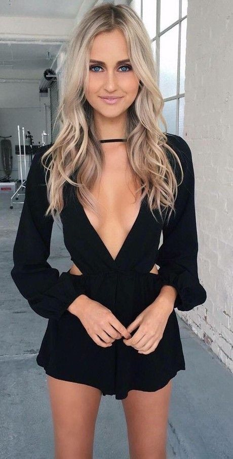 black romper with deep V