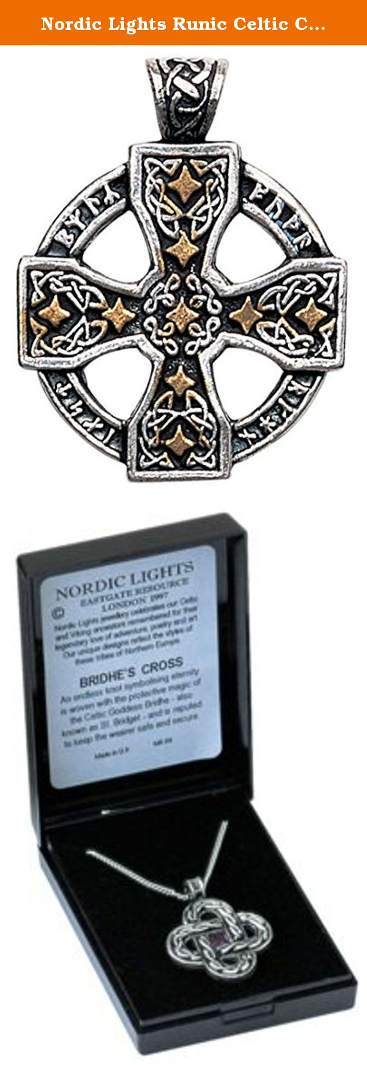 """Nordic Lights Runic Celtic Cross Pendant Amulet Talisman for Knowledge and Magickal Ability. The Nordic Lights collection is an unsurpassed variety of authentic Viking & Celtic jewelry designed by Maelstrom Odssonn, who is acknowledged in Nordic and Germanic art. The jewelry is produced in pewter and enhanced with Gold and Swarovski Crystals. Maelstrom has crafted a range of true beauty and has carefully researched the meanings. The pendants are provided with a matching 22"""" chain and..."""
