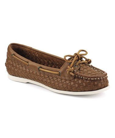 Sperry - Loving this Cognac Audrey Woven Leather Boat Shoe on #zulily! #Sperry ON SALE! $55!! http://www.zulily.com/invite/musthaveitnow