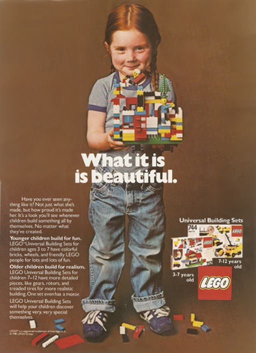 Lego advertisement from 1981 celebrated the beauty of creativity.