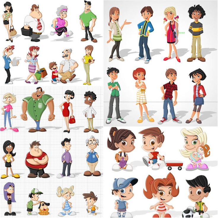 Cartoon Characters As Humans : Cartoon people vector g drawings