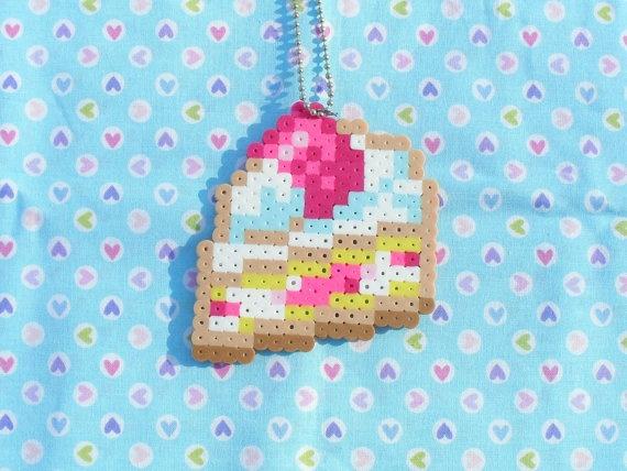 Strawberry Cream Cake perler bead Sprite Necklace by DelightfulEpiphany