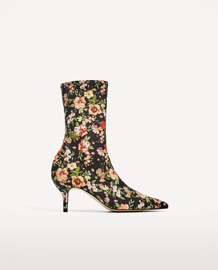 FLORAL FABRIC HIGH HEEL ANKLE BOOTS