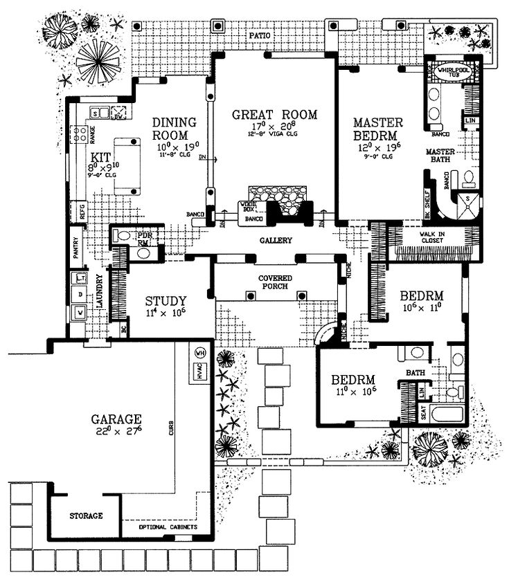 Level 1 southwest house plans adobe house plans for Southwest home floor plans