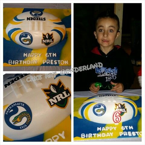 A birthday present cake for 6yr old Preston who is so cute. He asked for a Parramatta Eels theme & this is what I came up with. The marbled board cover was a hit. Cake was chocolate mud. All decorations are edible. Thanks for letting me make you a cake again this year Preston xo