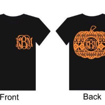 Monogram Pumpkin Shirt for Fall Short Sleeve T-Shirt Monogrammed Initials Personlized Halloween Tee Ladies Vinyl Top Personalized
