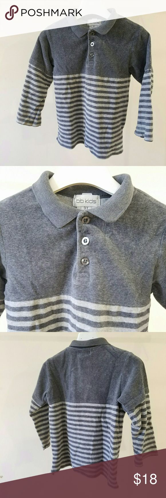 BB Kids Brand Boys Polo Shirt Gray 3T BB Kids Brand, Boys Kids Children Clothing , Top Polo Shirt , Size 3T, Gray Color, Striped Design, Long Sleeves, Classic Neckline, Cotton Blend , Dressy Special Occasion Wear And/Or Everyday School Wear, All Season, Excellent Condition, Smoke Free Pet Free Home. BB Kids Shirts & Tops Polos