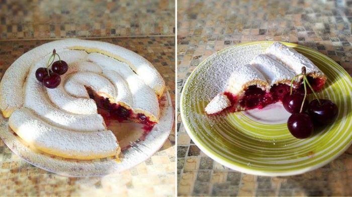 Нереально красивый кольцевой пирог с вишней будет настоящим украшением вашего праздничного стола. Кроме красоты, он еще и обалденно вкусный!