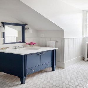 Best 25 navy blue bathrooms ideas on pinterest navy blue color navy blue bathroom decor and for Midnight blue bathroom vanity