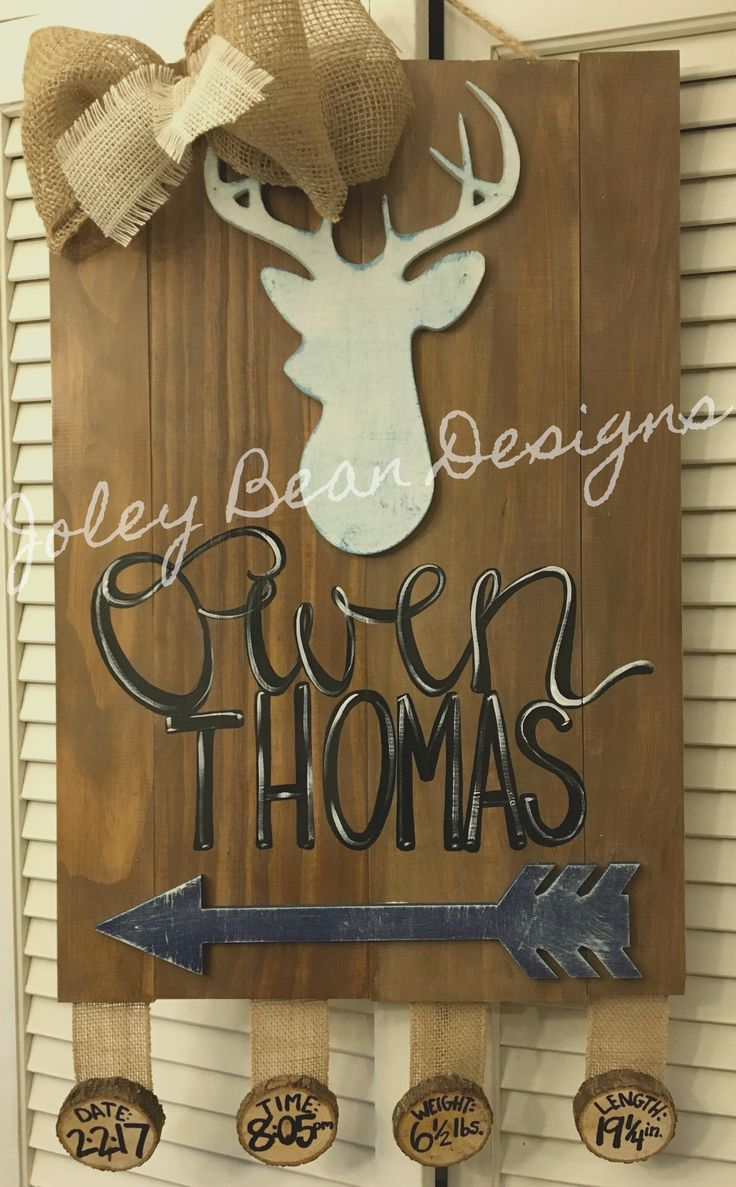 Hospital door hanger, baby, nursery, boy, deer, arrows, Joley Bean Designs