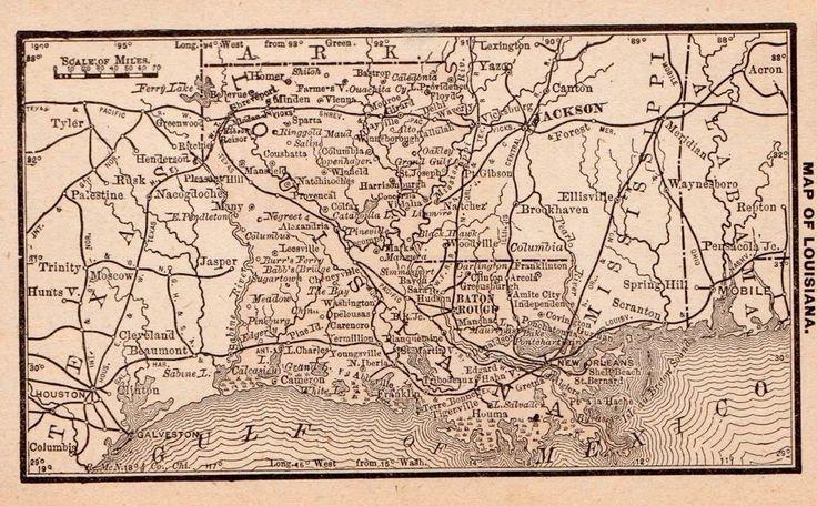 RARE Antique LOUISIANA Map 1886 RARE MINIATURE Map of Louisiana #2805