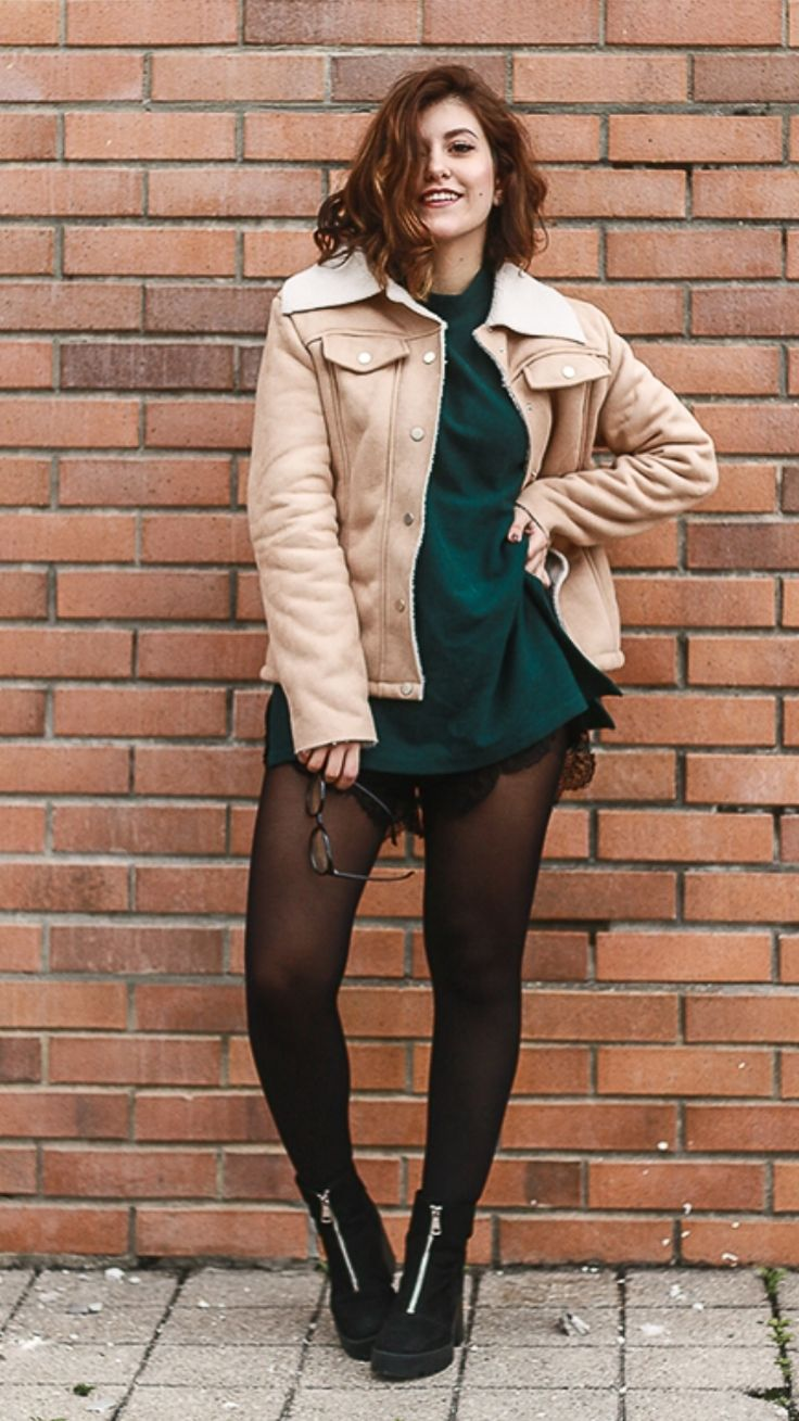"""Shearling -  As first seen on blog """"Ballerina Bird"""" here: Shearling  She is wearing tights similar here: Black Opaque Tights Tights feature microfiber yarns for a comfortable feel. Comfort waistband. Gusseted.  #tights #pantyhose #hosiery #nylons #tightslover #pantyhoselover #nylonlover #legs"""