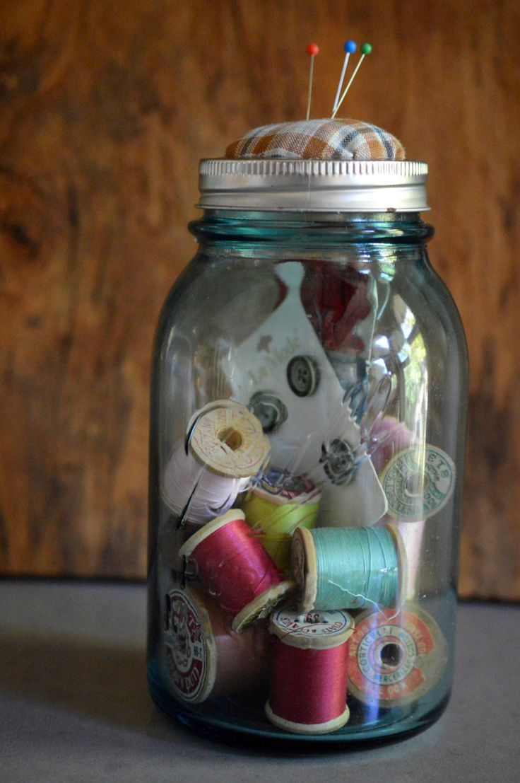 Mason Jar Sewing Kit Wood Spools, Buttons, Pin Cushion by SongSparrowTreasures on Etsy https://www.etsy.com/ca/listing/250685079/mason-jar-sewing-kit-wood-spools-buttons