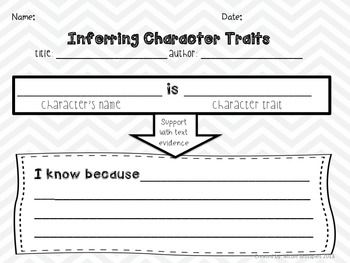 Inferring Character Traits Graphic Organizer & Traits Poster FREE