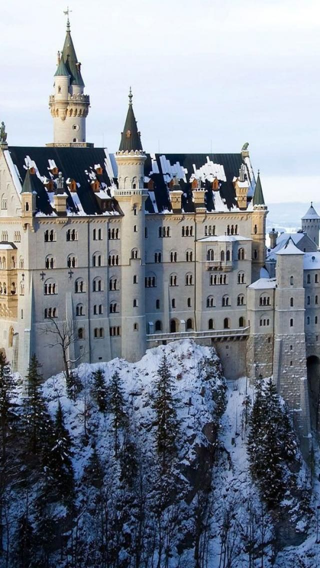 Neuschwanstein Castle,  Bavaria, Germany.  The palace was commissioned by Ludwig ll of Bavaria as a retreat as an homage to Richard Wagner.  Building began in 1869.  The palace was intended as a personal refuge but was opened to the paying public immediately after his death in 1886.