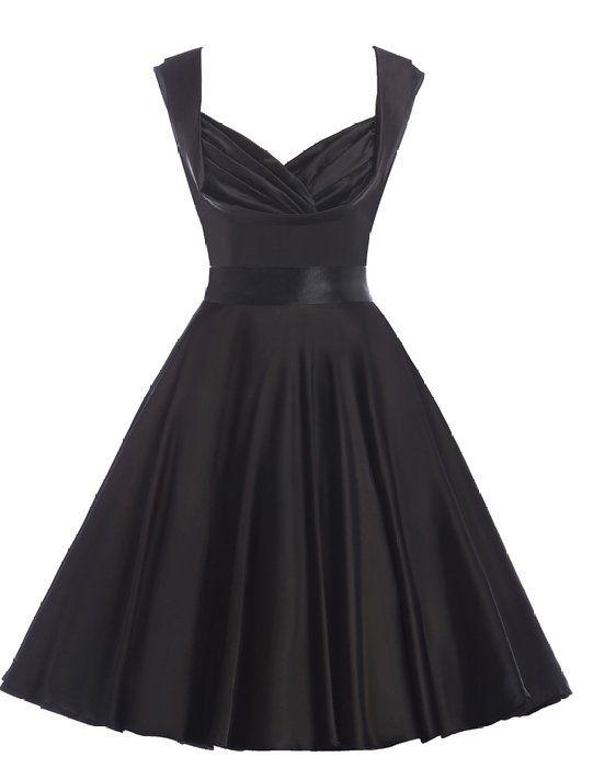 Belle Poque Retro Dress - Vestito - stile impero - Senza maniche - Donna Nero nero