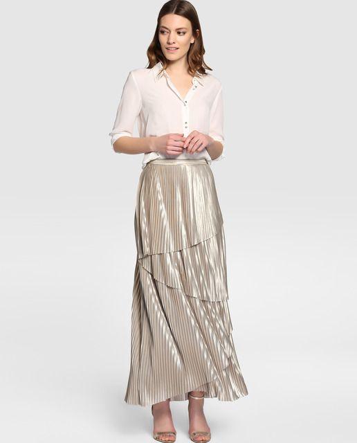 Falda plisada de mujer Amitié en color oro