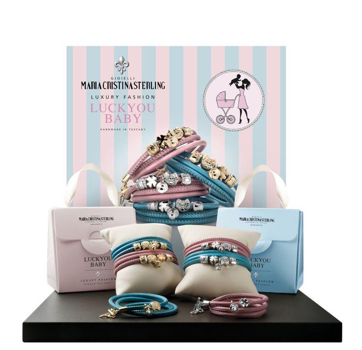 Maria Cristina Sterling gioielli moda  bracciali Luckyou Baby argento e pelle rosa e celeste Made in Tuscany Italy
