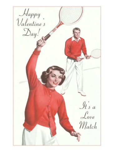 Vintage tennis valentine.  Adorable!  When I am playing I am sweaty nasty and no one would put me on a Valentine!