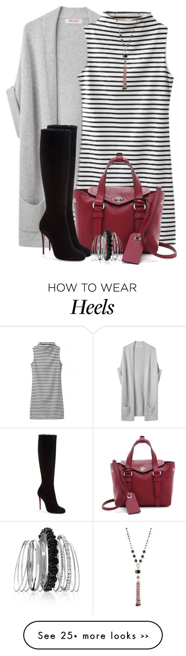 """Striped Dress & Boots"" by brendariley-1 on Polyvore featuring Organic by John Patrick, Marc by Marc Jacobs, Christian Louboutin, Stephen Dweck and Avenue"