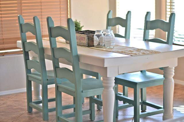 Great blue spray paint color:  Jade by Krylon.  Reminds me of the house we rented one summer in Nantucket where all of the chairs were mismatched in style, but were this color!