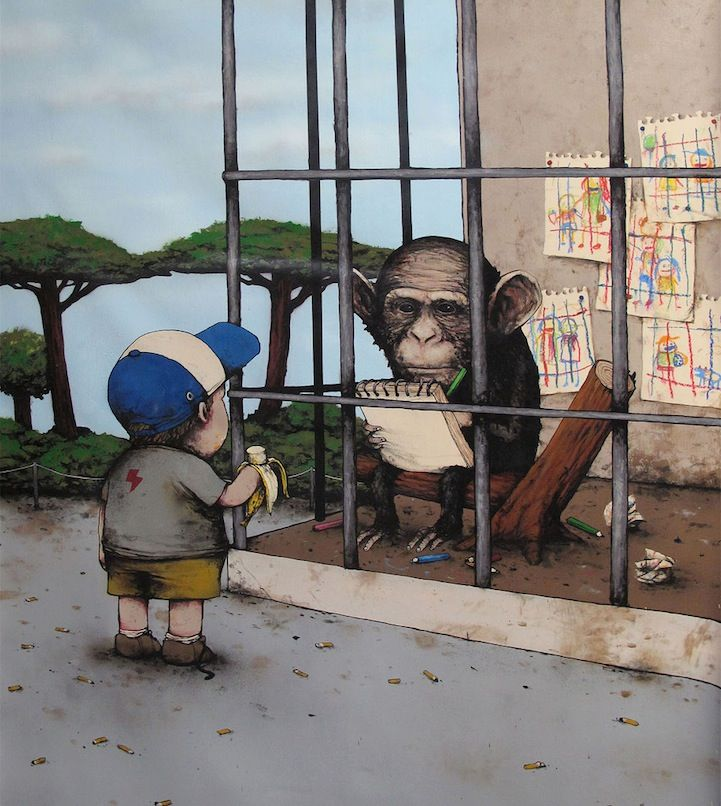 Street Artist Dran aka the French Banksy - My Modern Met.  [Look at what the monkey is drawing. What do you think of it? Is it showing the monkey's view of his world, or does it show the monkey wishing humans were caged?]