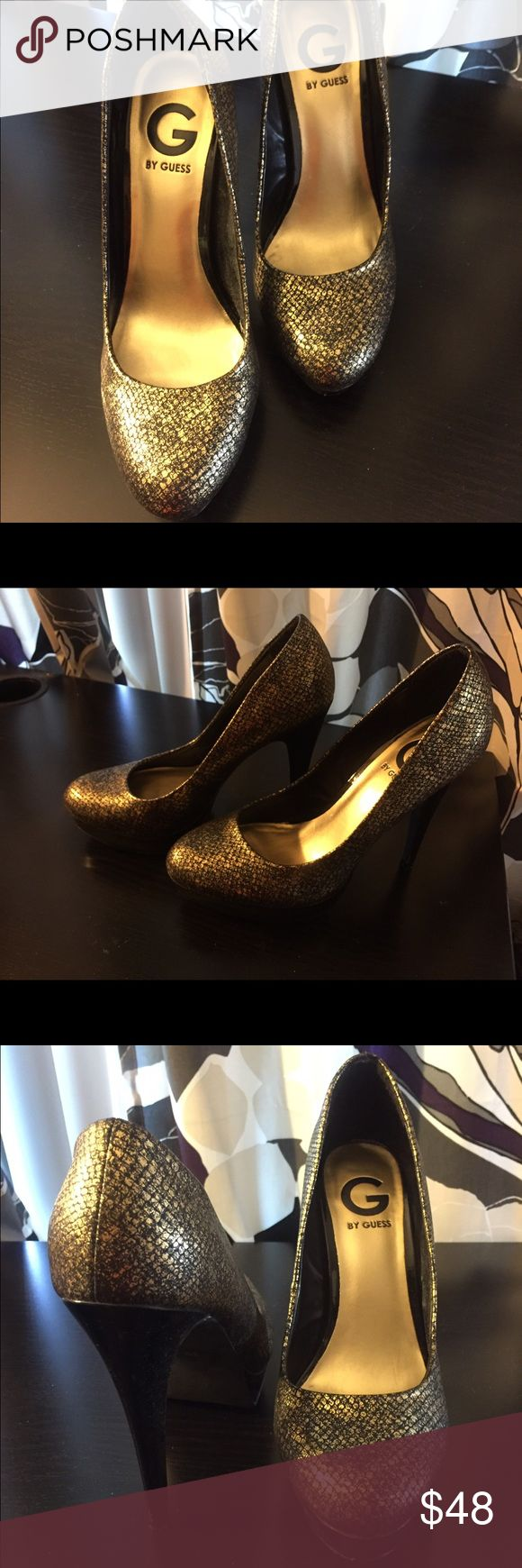 Black and Gold Pumps G by guess, black and gold heels, 3 inches, super cute with jeans or skiers/dresses. True to size. 8M G by Guess Shoes Heels