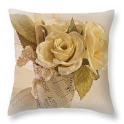 Roses And Butterfly Posy  Throw Pillow by Sandra Foster
