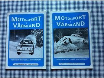 Motorsport i Värmland, två tidningar från 1978 Två mycket ovanliga tidningar i bra begagnat skick. Den ena saknar nedre hörnet på baksidan (se bild).  De är tidning nummer ett och två från årgång ett.  30 sidor i varje tidning.
