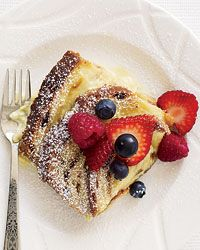 Cinnamon-Raisin Bread Custard with Fresh Berries
