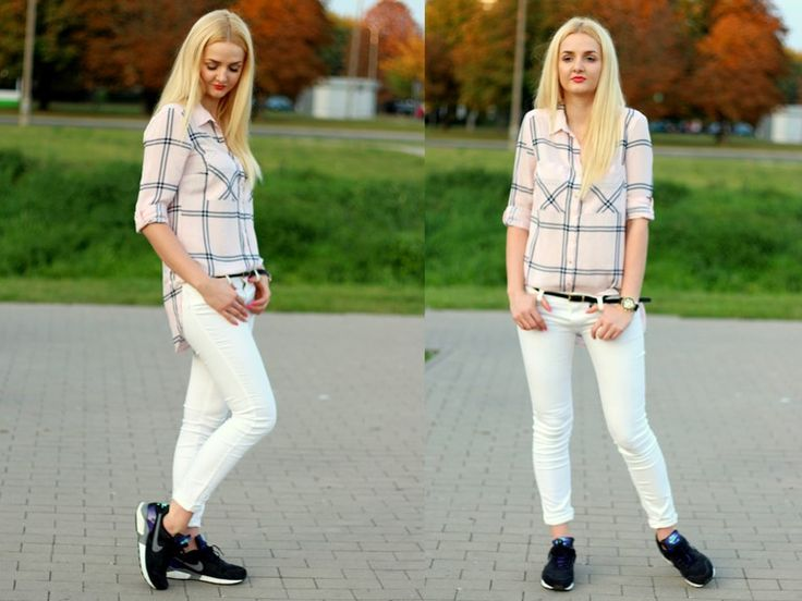 Made My Day, outfit, white trouser, jeans, koszula w kratę, ootd
