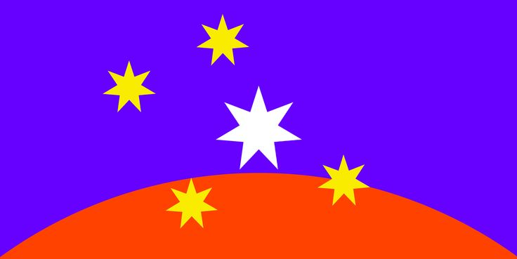#ausflag ULURU–SKY primo: heliotrope blue, orange and dynamic gold Southern Cross with central Federation Star device ©2015 simon alexander cook