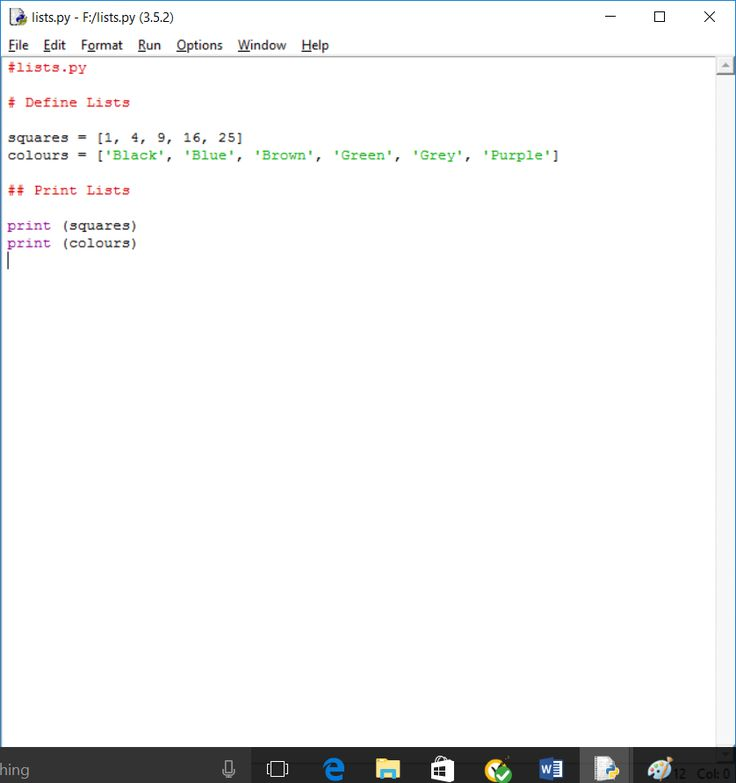 Writing Lists In Python 3