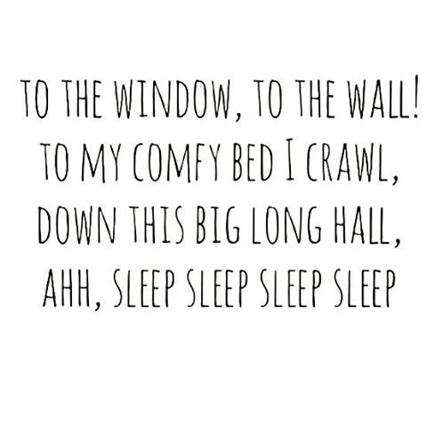 To the window, to the wall! To my comfy bed I crawl, down this big long haul. Ahh, sleep sleep sleep sleep