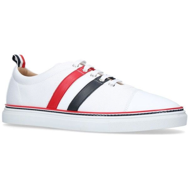 Thom Browne Stripe Sneakers ($665) ❤ liked on Polyvore featuring shoes, sneakers, striped sneakers, red sneakers, chunky shoes, low profile shoes and low profile sneakers