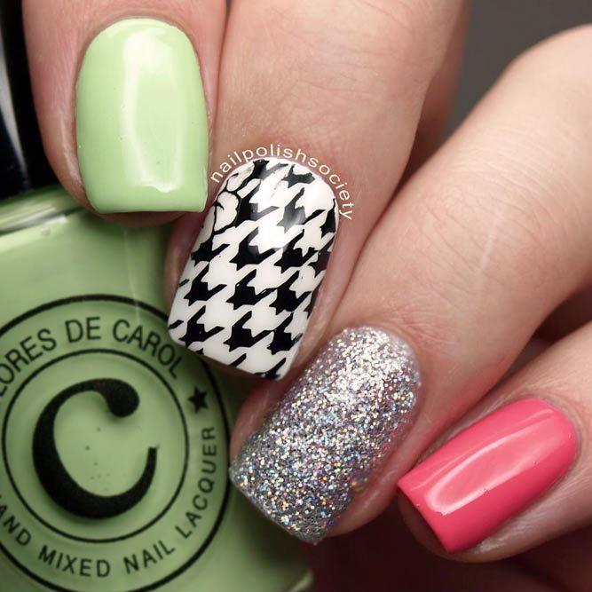 18 cool houndstooth pattern nails ideen die fr sie in diesem herbst fallen wird houndstooth muster wie ein eleganter akzent glitterailes squarenails - Muster Fur Nagel
