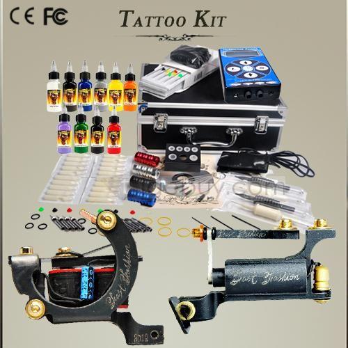Professional Tattoo Kit 2 Custom-handmade Machine 40 Inks Hurricane Power Pack One Scream Ink Set DIY-155