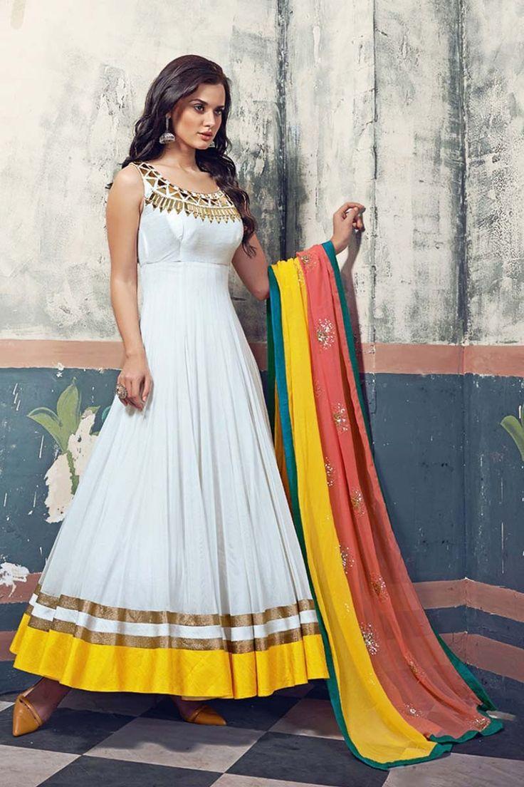 White Georgette Classy Anarkali Suit