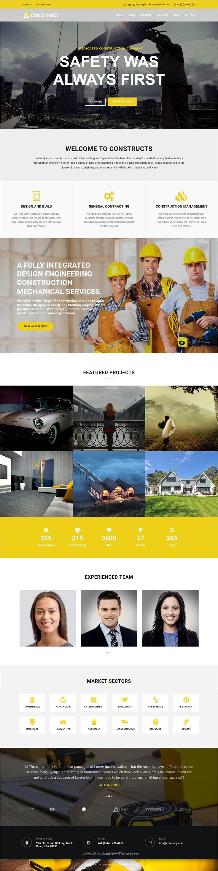 Construct is clean and modern design 6in1 responsive #Drupal template for for #construction and #building company website download now..
