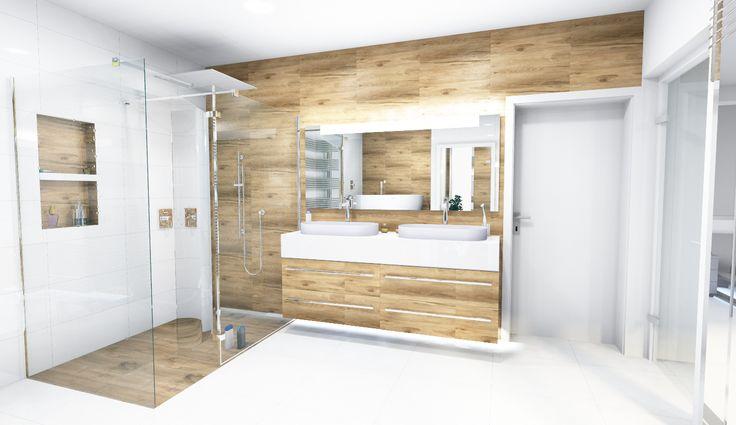 kúpeľňová kombinácia imitácie dreva a bielej lesklej dlažby