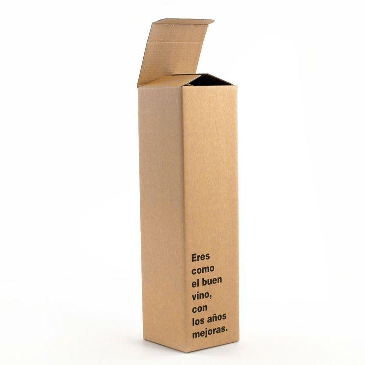 """Caja para 1 botella - Kraft """"Eres como el buen vino, con los años mejoras"""". Desde 1,43 €/ud ENVÍO GRATIS"""