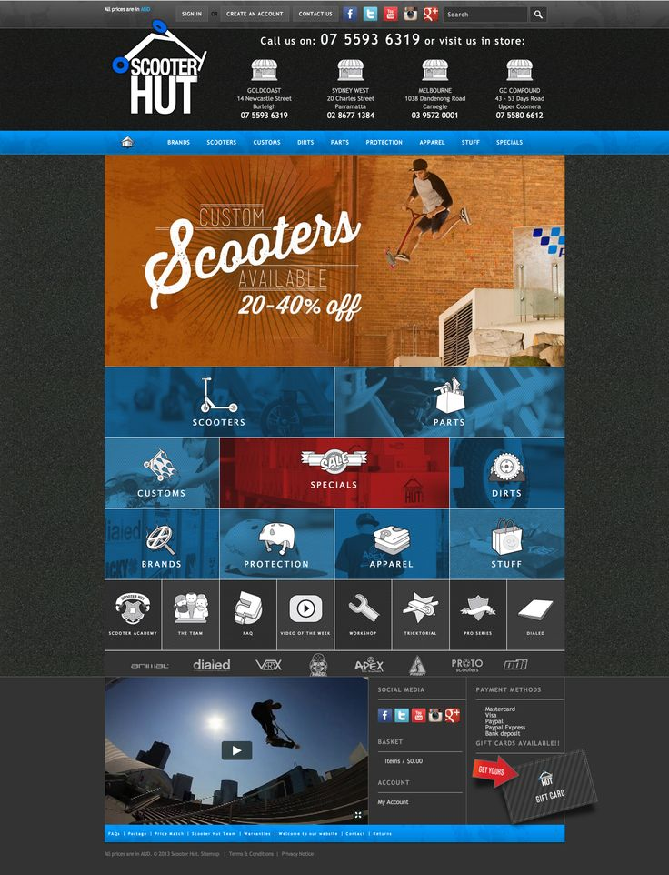 ScooterHut Website - full homepage