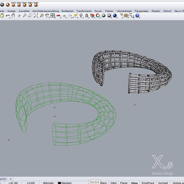 An other picture of my digital work process. A screen shot of my geometric bracelet. The program I use is Rhinoceros3D and Grasshopper.  #workprocess #screenshot #3d #digital #bracelet #differencemakesus #etsysuccess #etsyde #mytools #rhinoceros3d #grassh